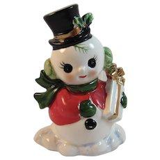 Josef Originals Snowman Napkin Holder Vintage Japan Christmas Ceramics