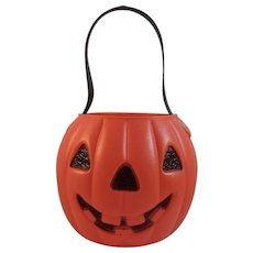 A J Renzi Halloween Blow Mold Jack-O-Lantern Pumpkin Trick or Treat Pail Bucket Vintage