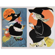 2 1960s Flocked Halloween Witch Cards American Greetings and Laurel Stand Up