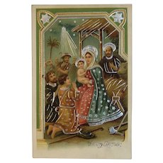 ASB German Nativity Scene Gel Postcard Holy Family ASB Germany Embossed Christmas