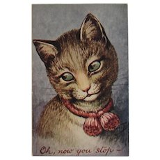 Thiele Artist Signed Cat Postcard Oh Now You Stop Pink Bow