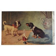 German Artist Signed Dogs with Wine Postcard Advertising from Weir's Red Ribbon Coffee Unused Puppy Puppies