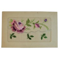 French Embroidered Silk Postcard Pink Flowers Made in France