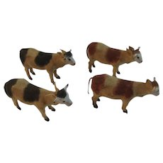 4 German Stick Leg Cows Flocked Composition Germany Christmas Putz