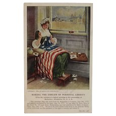 1909 Horlacher Brewing Co Betsy Ross Sewing the American Flag Postcard Advertising Allentown