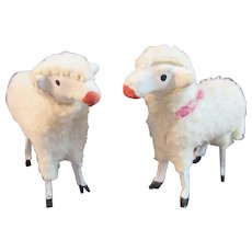 2 German Woolly Stick Leg Sheep Wooden Putz Germany Christmas Nativity Composition