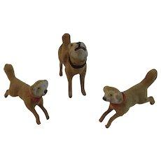 3 German Stick Leg Dogs Flocked Composition Germany Christmas Putz