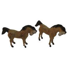 2 German Stick Leg Horses Flocked Composition Germany Christmas Putz
