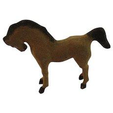 German Stick Leg Horse Flocked Composition Germany Christmas Putz