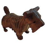 Carved Wood Scottie Dog Terrier Folk Art