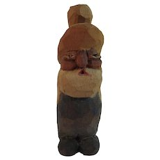 Vintage Carved Wood Farmer in Overalls with Original Paint