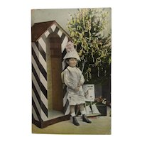 Tinted Real Photo Gel Christmas Postcard School Boy in Party Hat with Tree