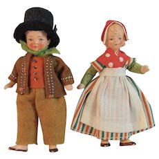 Pair of German Jointed Ethnic Dollhouse Dolls in Original Costumes