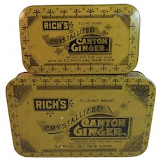 2 Rich's Canton Ginger Litho Decorated Tins EC Rich Inc New York