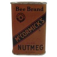 McCormick's Bee Brand Dark Nutmeg Spice Tin Vintage Kitchen McCormick Baltimore