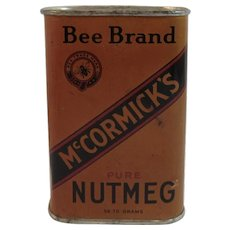 McCormick's Bee Brand Dark Nutmeg Spice Tin Vintage Kitchen McCormick Baltimore