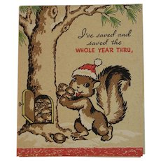 Vintage Squirrel Christmas Card by Wallace Brown