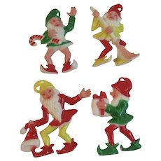 4 Christmas Gnome Ornaments Vintage Hard Plastic Elf Elves
