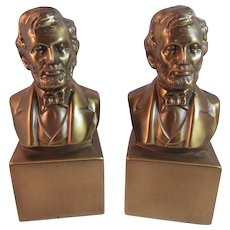 Lincoln Bust Bookends Vintage Book Ends President Abraham