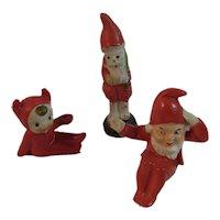 3 Bisque Christmas Miniatures Santa Elf Gnome Elves Vintage