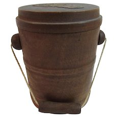 Treen Miniature Bucket With String Handle and Cover Treenware Hand Made Wood Folk Art