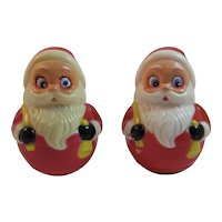 2 Roly Poly Musical Santa Claus Toys by Kiddie Products Hard Plastic