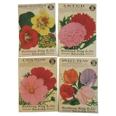 1938 Full Seed Packets From Northrup King & Co of Minneapolis Cosmos Sweet Peas Aster Dwarf Nasturtium