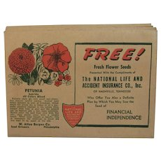 7 Burpee Petunia Seed Packets National Life and Accident Insurance Co circa 1930s