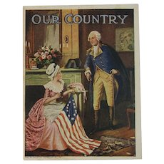 1920s Patriotic Book Our Country American Colortype Co Washington Betsy Ross and Flag