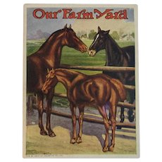 1920s Our Farm Yard Horses Book American Colortype Co Cows and Sheep