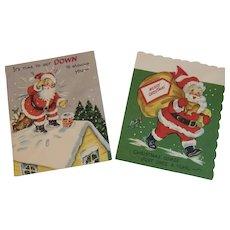 2 Unused Pop Up Santa Christmas Cards by Gay Greetings Popup Pop-Up