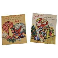 2 Unused Pop Up Christmas Cards Humorous by Gay Greetings Popup Pop-Up
