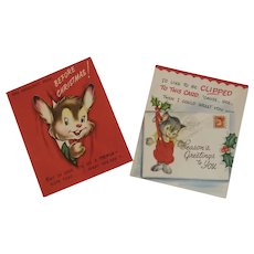2 Unused Pop Up Christmas Cards Mouse Mice Santa by Gay Greetings Popup Pop-Up