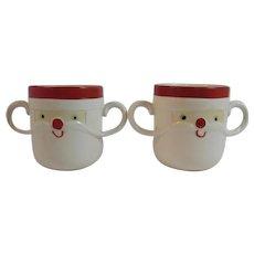 2 Holt Howard 1963 Santa Mugs Double Mustache Handled Cups