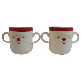 2 Holt Howard 1963 Santa Mugs Double Mustache Handled Cups