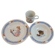 Chessie for Children Dishes Set by Woodmere China Chesapeake and Ohio Railway System Cat Kitty Bowl Plate Cup Mug