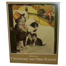 Tin Sign WWII Chessie Peake and Kittens C & O Railroad Chesapeake and Ohio Lines Railway Cats Together Again Wartime World War 2