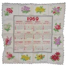1969 Calendar Birth Year Birthday Hanky Handkerchief Floral Flower of the Month Scalloped Edges