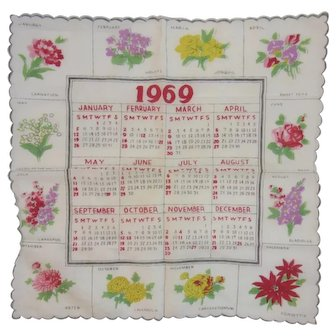 1969 Calendar Birth Year Birthday Hanky Handkerchief Floral Flower of the Month Scalloped Edges