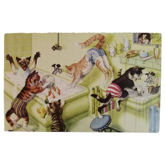 Alfred Mainzer Dressed Cats Postcard Bathroom Chaos 4971
