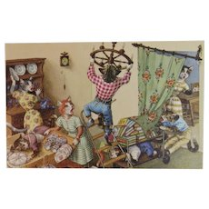 Alfred Mainzer Dressed Cats Postcard Changing a Lightbulb in the Dining Room Chaos 4955