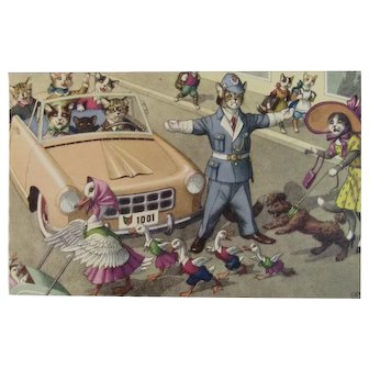 Alfred Mainzer Dressed Cats Postcard Duck Family Stops Traffic 4877