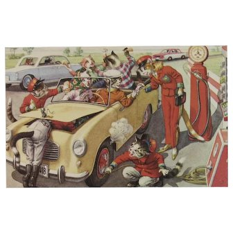 Alfred Mainzer Dressed Cats Postcard Gas Station Fill Up Chaos 4966