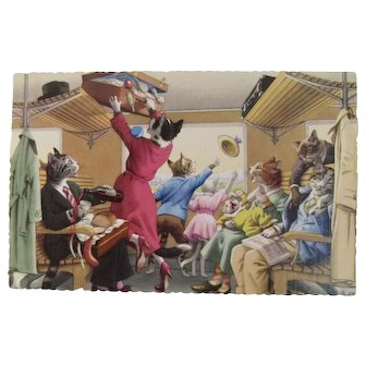 Alfred Mainzer Dressed Cats Postcard Train Car Chaos 4715