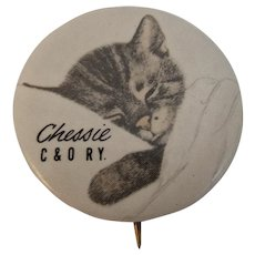 Compliments of Chessie The Sleeping Cat Pinback C & O Railroad Chesapeake and Ohio Railway Advertising Celluloid Pin IE Johnson Printing Co Ohio