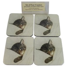 Coaster Set Chessie The Sleeping Cat C & O Railroad Chesapeake and Ohio Railway Advertising IN original Packaging