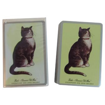 Peake Chessie's Old Man Playing Cards C&O Chesapeake and Ohio C & O Railroad In Original Box Kitty Cat