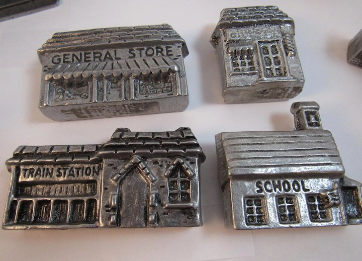 How To Store Christmas Village Houses.8 Carson Pewter Christmas Village Houses Buildings Post Office School General Store Train Station Vintage