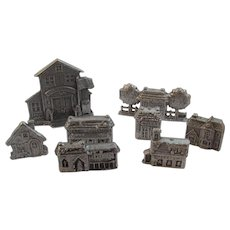 8 Carson Pewter Christmas Village Houses Buildings Post Office School General Store Train Station Vintage