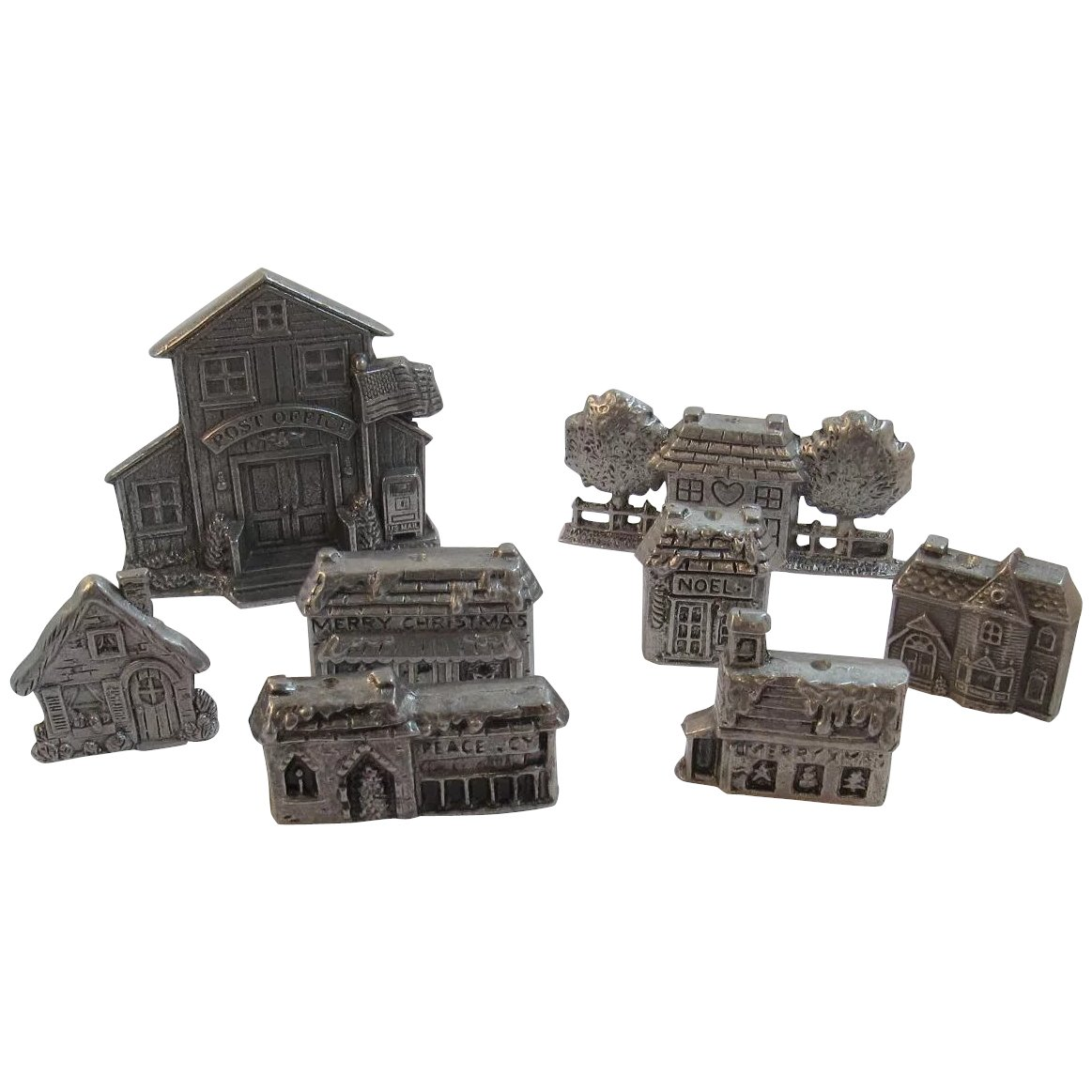 Christmas Village Houses.8 Carson Pewter Christmas Village Houses Buildings Post Office School General Store Train Station Vintage